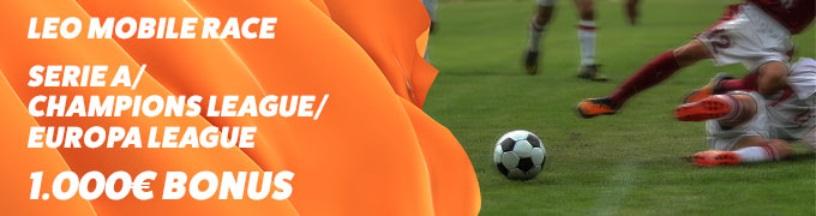 Bonus scommesse calcio LeoVegas Mobile Race