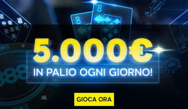 888poker freeroll 5.000€ al giorno