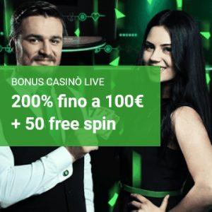 Unibet Casinò: bonus benvenuto 100€+50 free spin