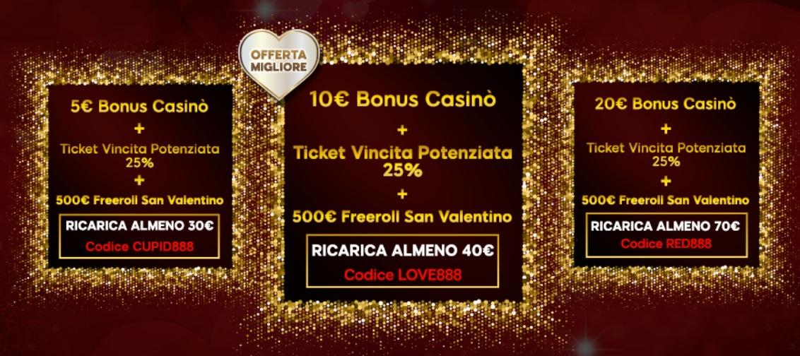 888casino bonus e regali San Valentino
